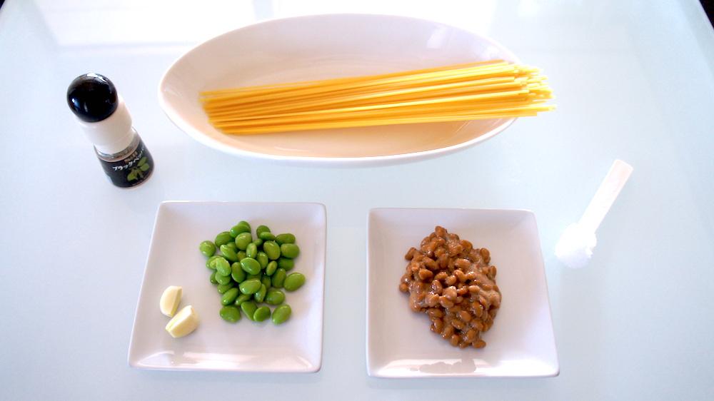 納豆と枝豆のペペロンチーノ材料